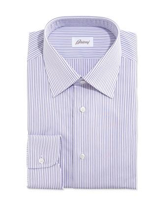 Rope-Stripe Woven Dress Shirt, Lavender