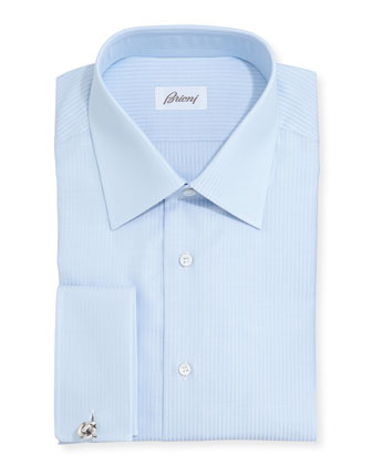 French-Cuff Tonal-Stripe Dress Shirt, Lt. Blue