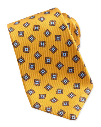 Square Medallion Pattern Tie, Gold