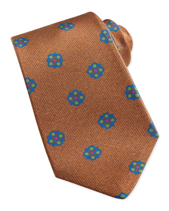 Flower-Medallion Pattern Tie, Brown