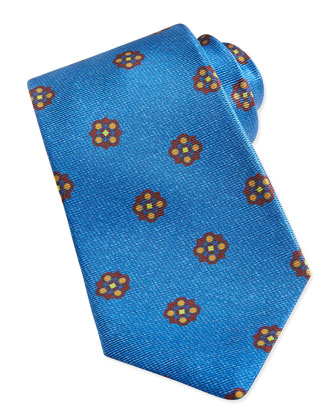 Flower-Medallion Pattern Tie, Light Blue