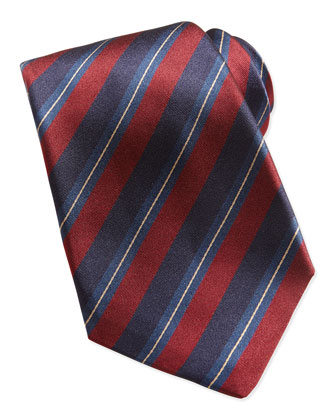 Woven Dark-Stripe Tie, Navy/Red