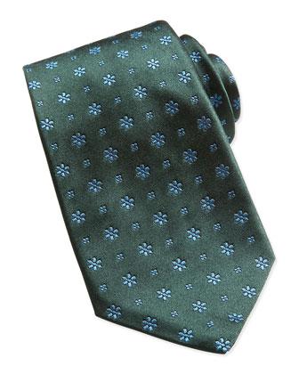 Neat Snowflake Silk Tie, Green