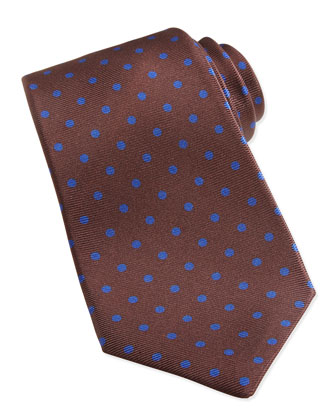 Polka-Dot Pattern Tie, Brown/Blue