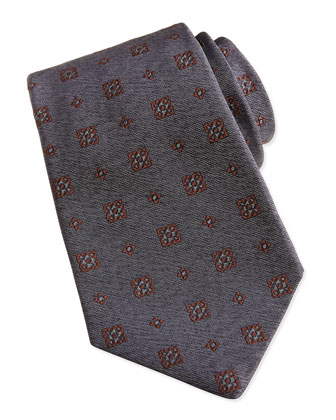 Medallion-Pattern Chambray Tie, Gray