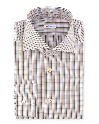 Woven Check Dress Shirt, Orange