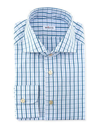 Windowpane-Plaid Dress Shirt, Teal
