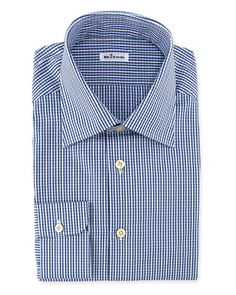 Saturated Check Dress Shirt, Blue