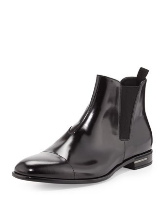 Spazzolato Chelsea Dress Boot, Black