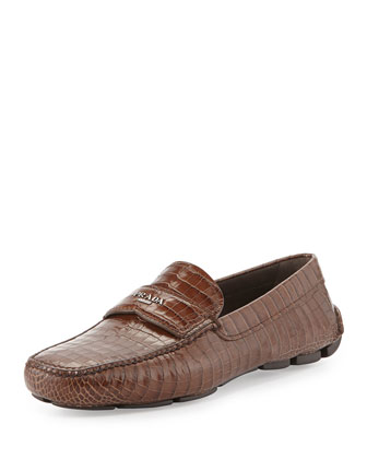 Croc-Embossed Rubber-Sole Loafer, Tobacco