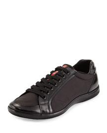 Nylon and Spazzolato Low-Top Sneaker, Navy