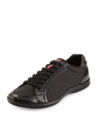 Nylon and Spazzolato Low-Top Sneaker