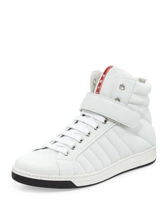 Quilted Napa Grip-Strap High-Top Sneaker, White