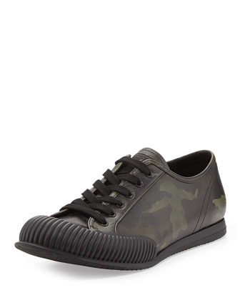 Camo-Print Saffiano Low-Top Sneaker, Green/Multi