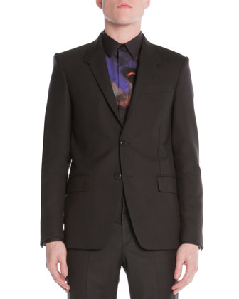 Stretch-Wool Print-Lined Suit Jacket, Black