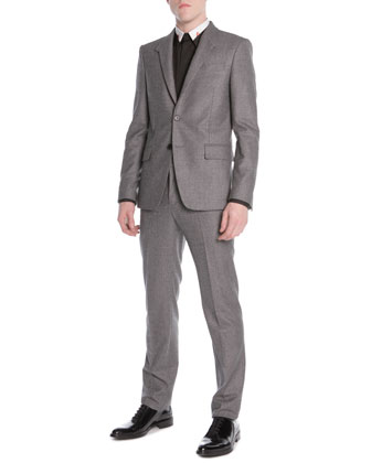 Wool/Mohair Two-Piece Suit, Gray