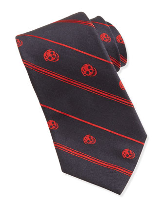 Bias Skull Jacquard Tie, Black/Bordeaux