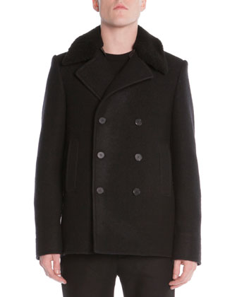 Zip-Back Pea Coat with Detachable Collar
