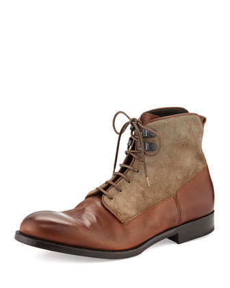 Mixed Media Derby Boot, Taupe