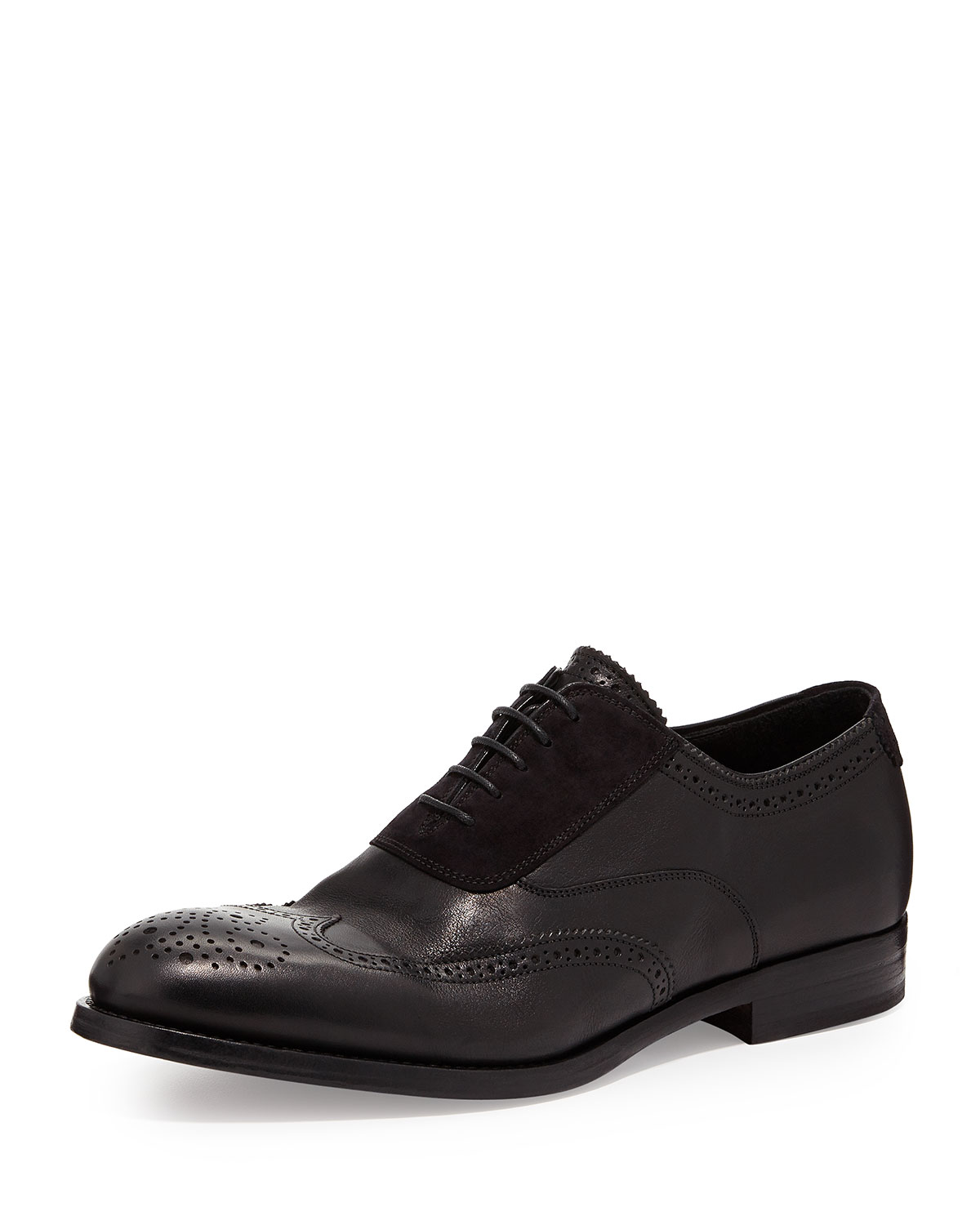 Suede/Leather Brogue Oxford, Black