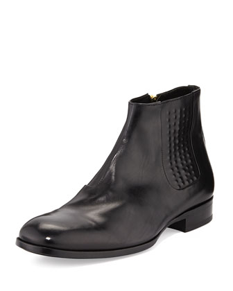 Riveted Leather Chelsea Boot, Black