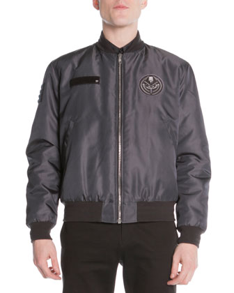 Patch-Detail Bomber Jacket, Dark Gray