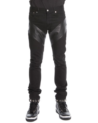 Leather-Panel Denim Jeans, Black
