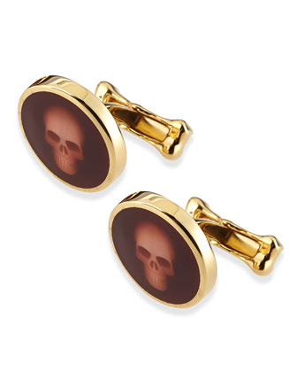 Skull-Under-Glass Cuff Links, Burgundy