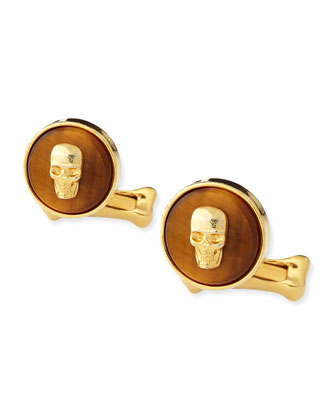 Skull-On-Stone Cuff Links, Brown