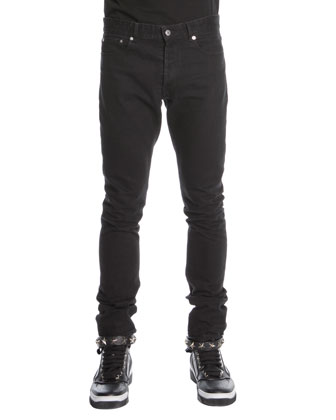 3-Star Faded Jeans, Black