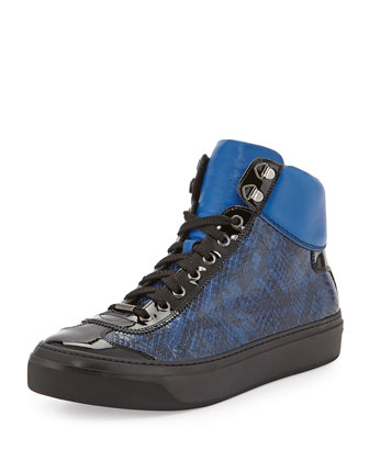 Argyle Snake-Embossed High-Top Sneaker, Black Blue