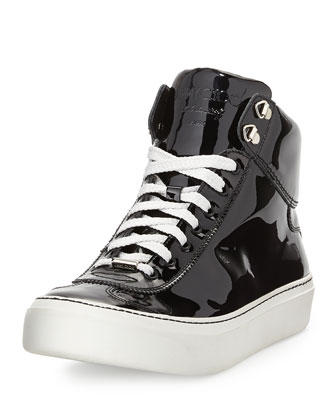 Argyle Men's Patent Leather High-Top Sneaker
