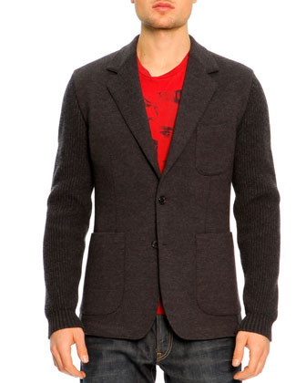Two-Button Wool Sleeve Jacket, Charcoal