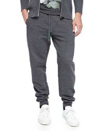 Zip-Pocket Sweatpants, Melange Gray