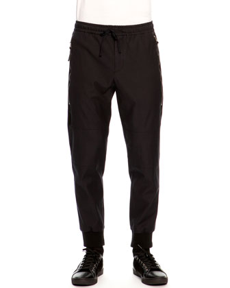 Jogging Pants with Long Zip Pockets, Dark Blue