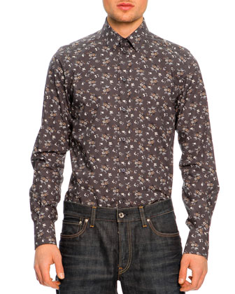 Button-Down Floral-Print Shirt, Charcoal