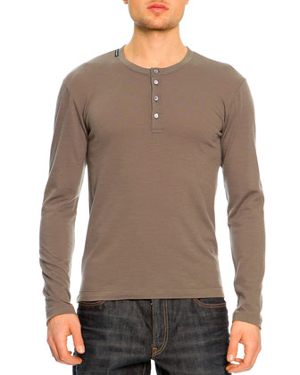 Long Sleeve Henley Shirt, Olive