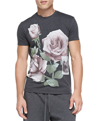 Short-Sleeve T-Shirt with Printed Roses, Gray