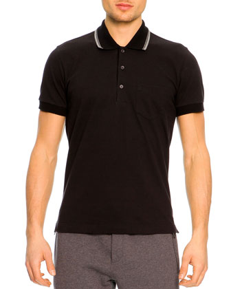 Short-Sleeve Striped Collar Polo Shirt, Black