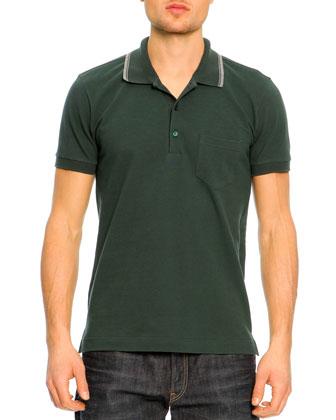 Short-Sleeve Striped Collar Polo Shirt, Green