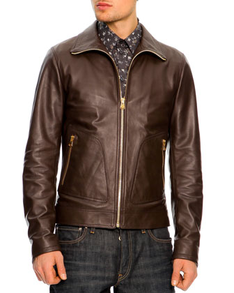 Leather Bomber Jacket, Dark Brown