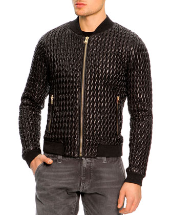Ruched Nylon Bomber Jacket, Black