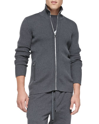 Ribbed-Knit Zip-Front Sweater, Dark Lead Gray