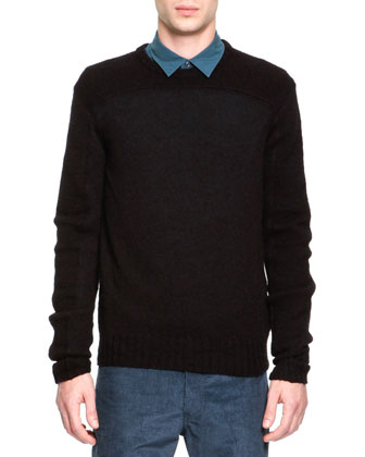 Wool/Alpaca Crewneck Sweater, Black