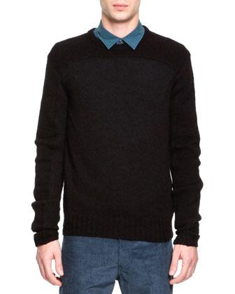 Wool/Alpaca Crewneck Sweater, Black