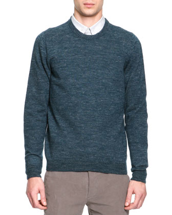 Crewneck Elbow Patch Sweater, Green