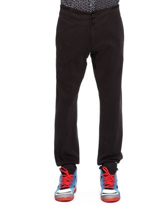 Jersey Button-Front Sweatpants, Black