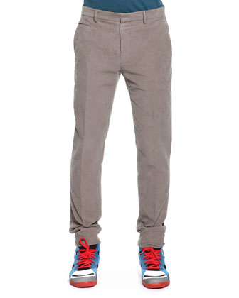 Slim Fit Moleskin Pants, Light Gray
