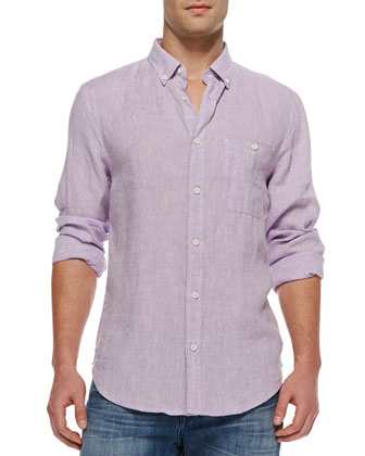Linen Button-Down Shirt, Lavender