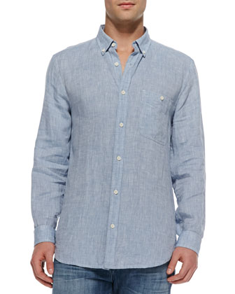 Linen Button-Down Shirt, Light Blue